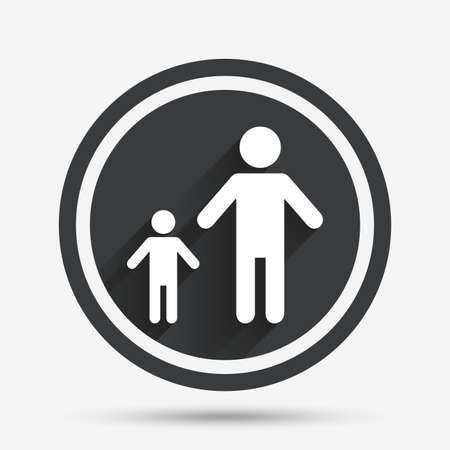family with one child: One-parent family with one child sign icon. Father with son symbol. Circle flat button with shadow and border. Vector