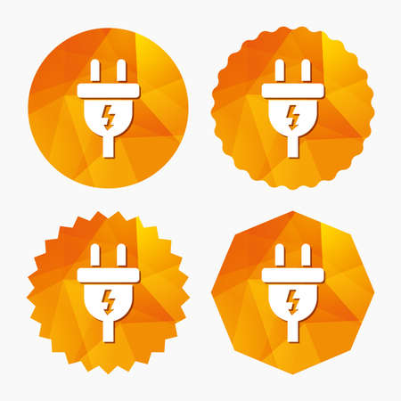 low energy: Electric plug sign icon. Power energy symbol. Lightning sign. Triangular low poly buttons with flat icon. Vector