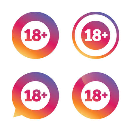 18 plus years old sign. Adults content icon. Gradient buttons with flat icon. Speech bubble sign. Vector