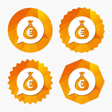 eur: Money bag sign icon. Euro EUR currency speech bubble symbol. Triangular low poly buttons with flat icon. Vector