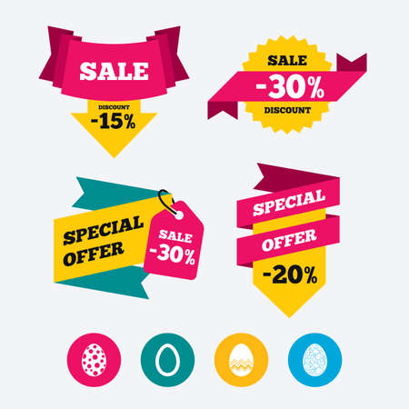 pasch: Easter eggs icons. Circles and floral patterns symbols. Tradition Pasch signs. Web stickers, banners and labels. Sale discount tags. Special offer signs. Vector