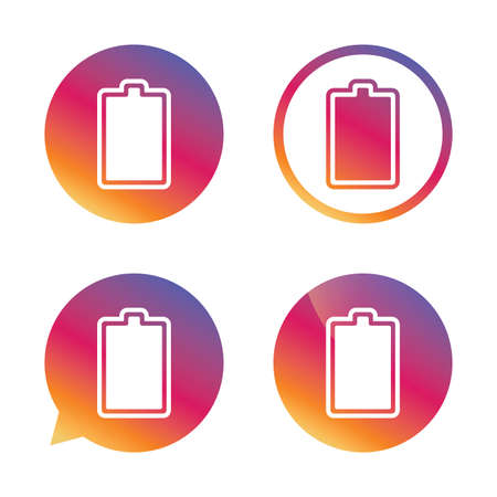 fully: Battery fully charged sign icon. Electricity symbol. Gradient buttons with flat icon. Speech bubble sign. Vector
