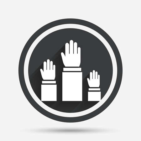 shadow people: Election or voting sign icon. Hands raised up symbol. People referendum. Circle flat button with shadow and border. Vector