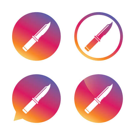 stab: Knife sign icon. Edged weapons symbol. Stab or cut. Hunting equipment. Gradient buttons with flat icon. Speech bubble sign. Vector