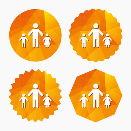 One-parent family with two children sign icon. Father with son and daughter symbol. Triangular low poly buttons with flat icon. Vector Illustration