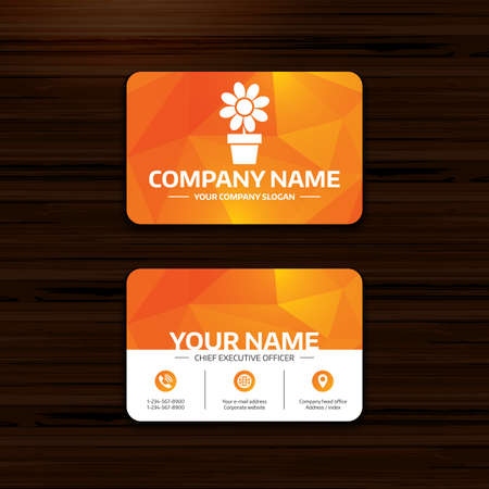 macro flowers: Business or visiting card template. Flowers in pot icon. Bouquet of flowers with petals. Macro sign. Phone, globe and pointer icons. Vector
