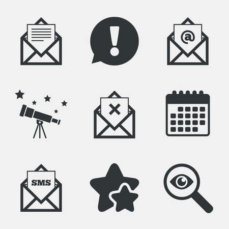 webmail: Mail envelope icons. Message document symbols. Post office letter signs. Delete mail and SMS message. Attention, investigate and stars icons. Telescope and calendar signs. Vector Illustration