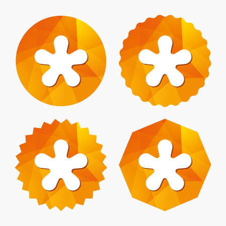 more information: Asterisk round footnote sign icon. Star note symbol for more information. Triangular low poly buttons with flat icon. Vector