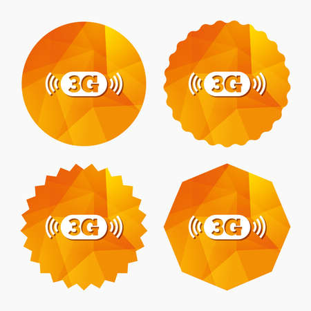 3g: 3G sign icon. Mobile telecommunications technology symbol. Triangular low poly buttons with flat icon. Vector