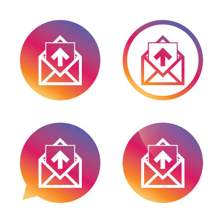 outgoing: Mail icon. Envelope symbol. Outgoing message sign. Mail navigation button. Gradient buttons with flat icon. Speech bubble sign. Vector