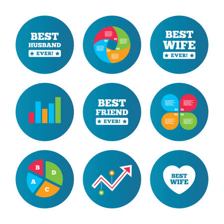 friend chart: Business pie chart. Growth curve. Presentation buttons. Best wife, husband and friend icons. Heart love signs. Award symbol. Data analysis. Vector