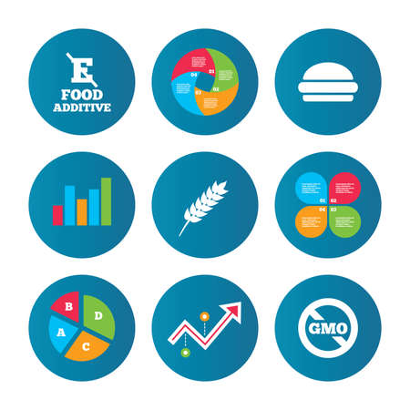 stabilizers: Business pie chart. Growth curve. Presentation buttons. Food additive icon. Hamburger fast food sign. Gluten free and No GMO symbols. Without E acid stabilizers. Data analysis. Vector