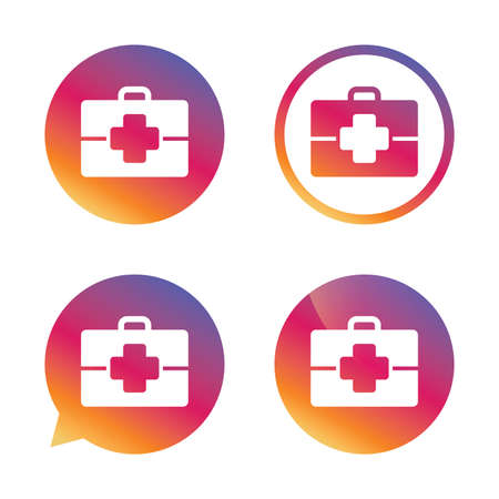 medical case: Medical case sign icon. Doctor symbol. Gradient buttons with flat icon. Speech bubble sign. Vector Illustration