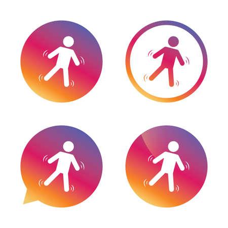 slip homme: Man tombe signe icône. Falling down symbole humain. Attention glissante. boutons Gradient avec icône plat. Discours signe de bulle. Vecteur
