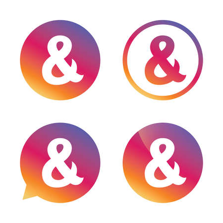 logical: Ampersand sign icon. Programming logical operator AND. Wedding invitation symbol. Gradient buttons with flat icon. Speech bubble sign. Vector Illustration