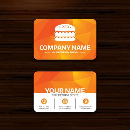 phone symbol: Business or visiting card template. Hamburger icon. Burger food symbol. Cheeseburger sandwich sign. Phone, globe and pointer icons. Vector