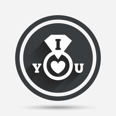 i love you sign: I Love you sign icon. Valentines day symbol. Circle flat button with shadow and border. Vector