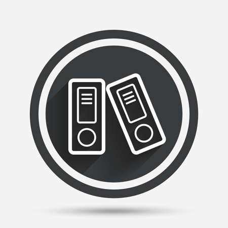 bookkeeping: Document folder sign. Accounting binder symbol. Bookkeeping management. Circle flat button with shadow and border. Vector