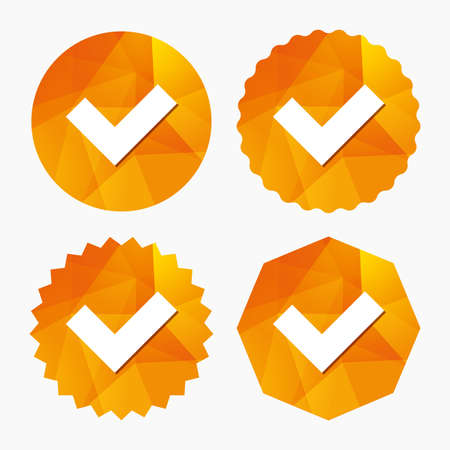 confirm: Check sign icon. Yes button. Triangular low poly buttons with flat icon. Vector