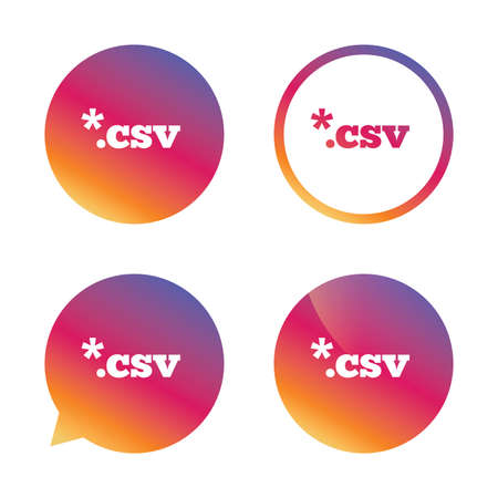 csv: File document icon. Download tabular data file button. CSV file extension symbol. Gradient buttons with flat icon. Speech bubble sign. Vector