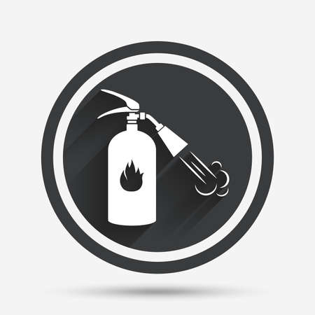 safety circle: Fire extinguisher sign icon. Fire safety symbol. Circle flat button with shadow and border. Vector