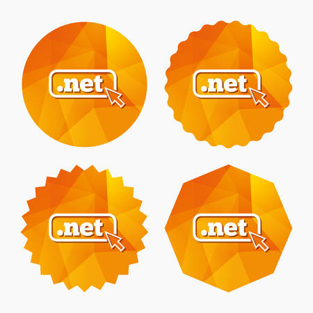 dns: Domain NET sign icon. Top-level internet domain symbol with cursor pointer. Triangular low poly buttons with flat icon. Vector Illustration