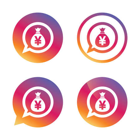 Money bag sign icon. Yen JPY currency speech bubble symbol. Gradient buttons with flat icon. Speech bubble sign. Vector