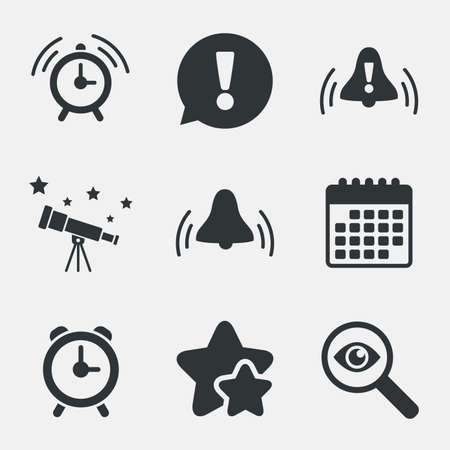 wake up call: Alarm clock icons. Wake up bell signs symbols. Exclamation mark. Attention, investigate and stars icons. Telescope and calendar signs. Vector