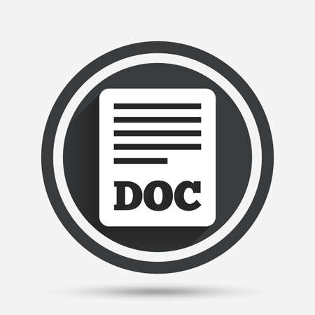 doc: File document icon. Download doc button. Doc file symbol. Circle flat button with shadow and border. Vector Illustration