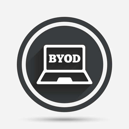 own: BYOD sign icon. Bring your own device symbol. Laptop icon. Circle flat button with shadow and border. Vector