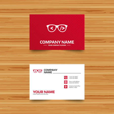 coder: Business card template. Coder sign icon. Programmer symbol. Glasses icon. Phone, globe and pointer icons. Visiting card design. Vector Illustration