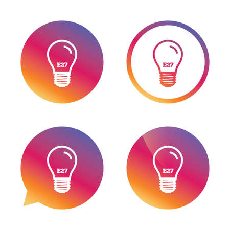 e27: Light bulb icon. Lamp E27 screw socket symbol. Led light sign. Gradient buttons with flat icon. Speech bubble sign. Vector