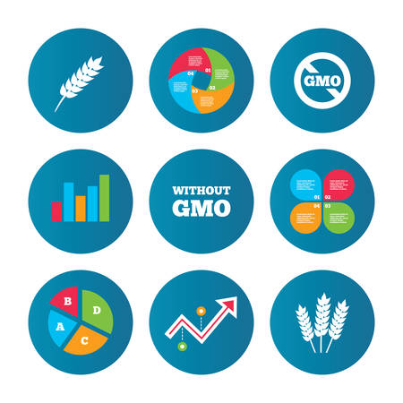 modified: Business pie chart. Growth curve. Presentation buttons. Agricultural icons. Gluten free or No gluten signs. Without Genetically modified food symbols. Data analysis. Vector Illustration