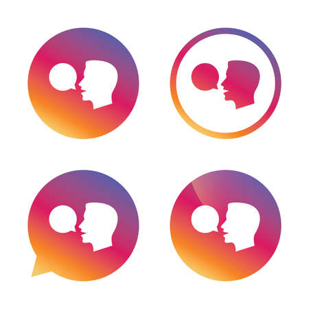loudly: Talk or speak icon. Speech bubble symbol. Human talking sign. Gradient buttons with flat icon. Speech bubble sign. Vector Illustration