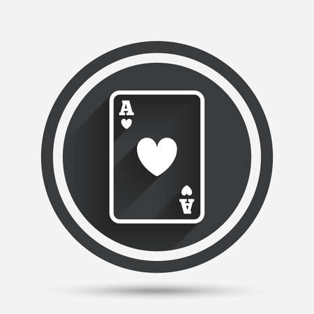 ace of hearts: Casino sign icon. Playing card symbol. Ace of hearts. Circle flat button with shadow and border. Vector Illustration