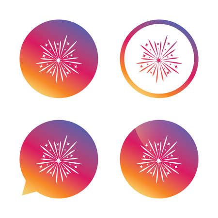 pyrotechnic: Fireworks sign icon. Explosive pyrotechnic show symbol. Gradient buttons with flat icon. Speech bubble sign. Vector