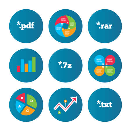 rar: Business pie chart. Growth curve. Presentation buttons. Document icons. File extensions symbols. PDF, RAR, 7z and TXT signs. Data analysis. Vector