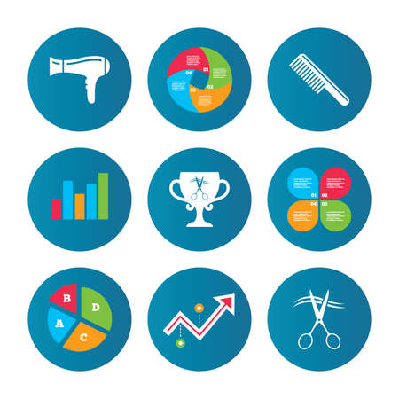 hairstyling: Business pie chart. Growth curve. Presentation buttons. Hairdresser icons. Scissors cut hair symbol. Comb hair with hairdryer symbol. Barbershop winner award cup. Data analysis. Vector