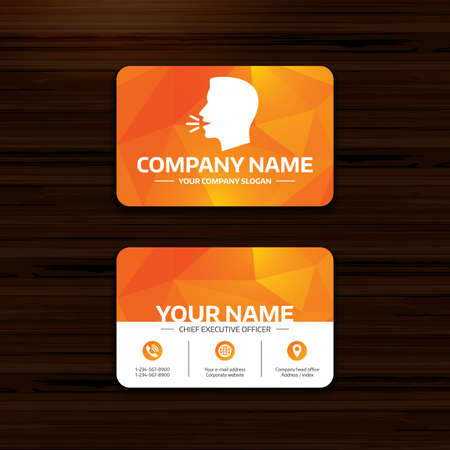 loud noise: Business or visiting card template. Talk or speak icon. Loud noise symbol. Human talking sign. Phone, globe and pointer icons. Vector