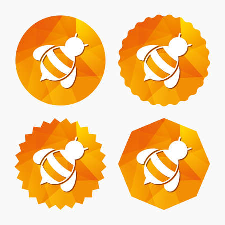 Bee sign icon. Honeybee or apis with wings symbol. Flying insect diagonal. Triangular low poly buttons with flat icon. Vector