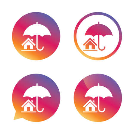 belay: Home insurance sign icon. Real estate insurance symbol. Gradient buttons with flat icon. Speech bubble sign. Vector Illustration