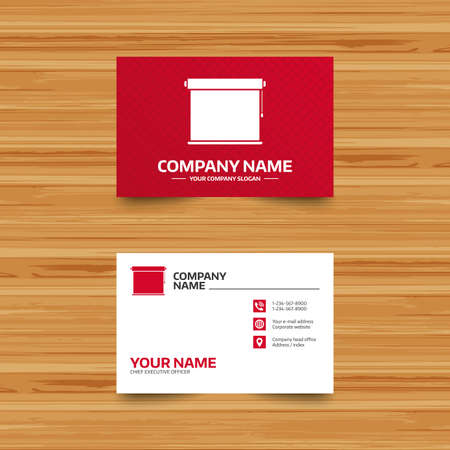 roll curtains: Business card template. Louvers rolls sign icon. Window blinds or jalousie symbol. Phone, globe and pointer icons. Visiting card design. Vector Illustration