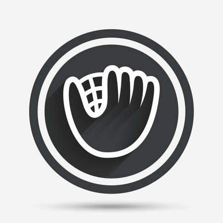 mitt: Baseball glove or mitt sign icon. Sport symbol. Circle flat button with shadow and border. Vector Illustration