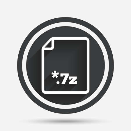 zipped: Archive file icon. Download compressed file button. 7z zipped file extension symbol. Circle flat button with shadow and border. Vector Illustration