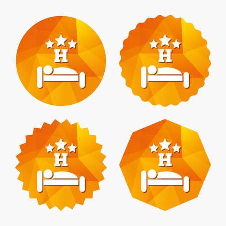 sleeper: Three star Hotel apartment sign icon. Travel rest place. Sleeper symbol. Triangular low poly buttons with flat icon. Vector