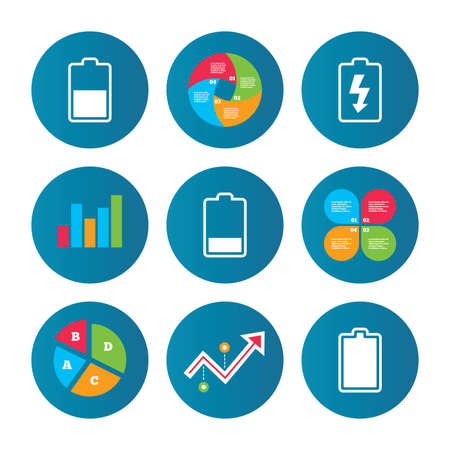 electrochemical: Business pie chart. Growth curve. Presentation buttons. Battery charging icons. Electricity signs symbols. Charge levels: full, half and low. Data analysis. Vector