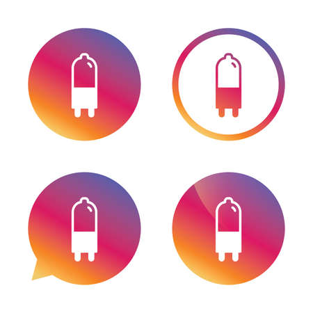 enchufe de luz: Light bulb icon. Lamp G9 socket symbol. Led or halogen light sign. Gradient buttons with flat icon. Speech bubble sign. Vector Vectores
