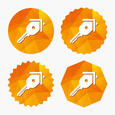 realestate: Key from the house sign icon. Unlock tool symbol. Triangular low poly buttons with flat icon. Vector Illustration