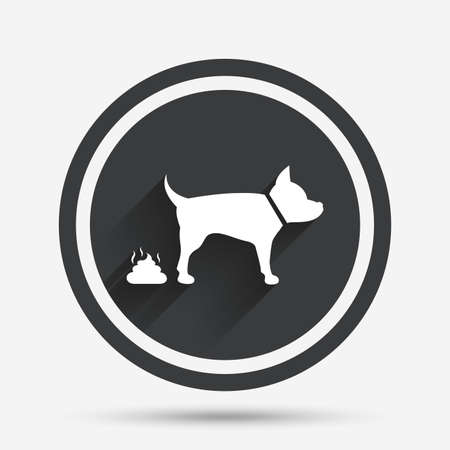 feces: Feces sign icon. Clean up after pets symbol. Put it in the bag. Circle flat button with shadow and border. Vector Illustration