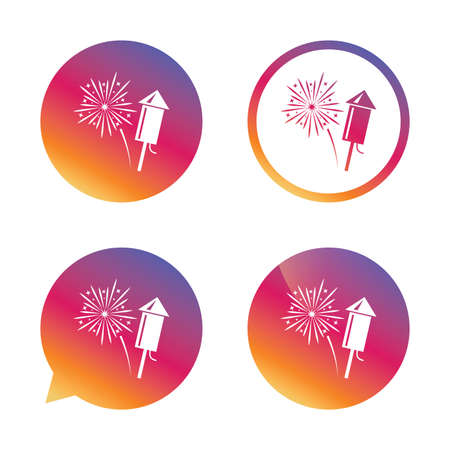 pyrotechnic: Fireworks with rocket sign icon. Explosive pyrotechnic symbol. Gradient buttons with flat icon. Speech bubble sign. Vector Illustration